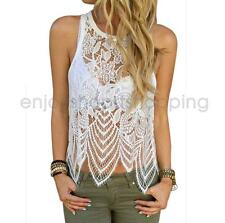 Sexy Hollow Out See-Through Lace Tank Top Women's Asymmetrical Top Blouse