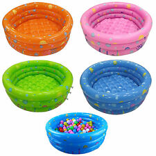 80/150CM Inflatable 3 Ring Round Swimming Pool Toddler For Children Kids Outdoor