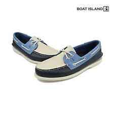 Boat Island Blue Ivory Cow Leather Boat Shoes Deck Shoe Driving Moccasin Loafer