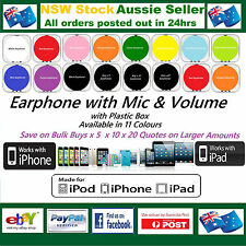 For Apple iPhone 6 5 5S 5C 4 3 iPod iPad Headphone Earphone Mic +/- Vol