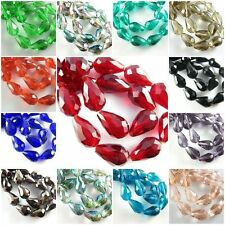 50PCS Glass Crystal Charms Findings Teardrop Spacer Loose Beads 6*8mm