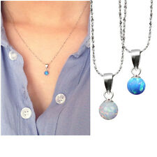 blue fire opal 5mm ball necklace 925 sterling silver necklace moonstone pendant