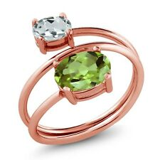 2.19 Ct Oval Green Peridot Sky Blue Aquamarine 18K Rose Gold Plated Silver Ring