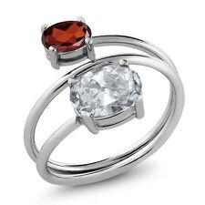 2.30 Ct Oval White Topaz Red Garnet 925 Sterling Silver Ring