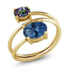 2.30 Ct Blue Mystic Topaz Green Mystic Topaz 18K Yellow Gold Plated Silver Ring