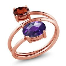 2.00 Ct Oval Checkerboard Amethyst Red Garnet 18K Rose Gold Plated Silver Ring