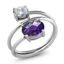 2.00 Ct Oval Checkerboard Purple Amethyst White Topaz 925 Sterling Silver Ring