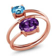 2.00 Ct Oval Purple Amethyst Swiss Blue Topaz 18K Rose Gold Plated Silver Ring