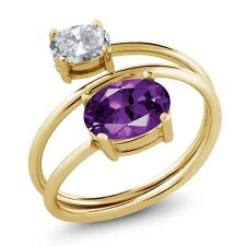 2.00 Ct Oval Purple Amethyst White Topaz 18K Yellow Gold Plated Silver Ring