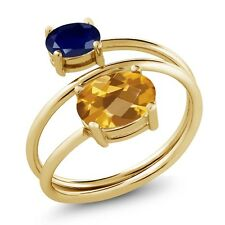 2.35 Ct Oval Checkerboard Citrine Sapphire 18K Yellow Gold Plated Silver Ring