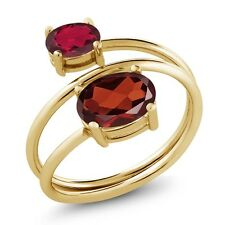 2.20 Ct Oval Garnet Ruby Red Mystic Topaz 18K Yellow Gold Plated Silver Ring