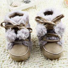 Baby Boy Girl Winter Boots Faux Fur Crib Shoes Size  0-18 Months