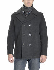 Kenneth Cole Reaction Charcoal Gray Wool Double Breasted Peacoat Coat With Scarf