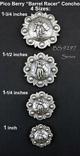 LOT OF 6 PC ANTIQUE SILVER WESTERN PICO BERRY RODEO BARREL RACER CONCHOS 4 SIZES
