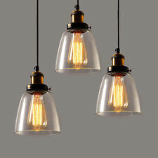New Industrial Vintage Pendant Ceiling Light Clear Glass Lampshade Brass Fitting
