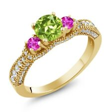 2.10 Ct Round Green Peridot Pink Sapphire 18K Yellow Gold Plated Silver Ring