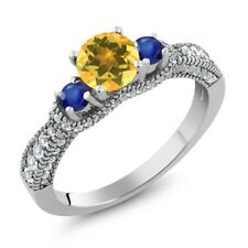 1.70 Ct Round Yellow Citrine Blue Sapphire 925 Sterling Silver Ring
