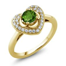 0.77 Ct Round Green Chrome Diopside 18K Yellow Gold Plated Silver Heart Ring