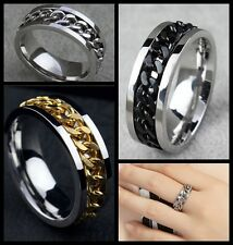 Unsex Men's Silver Curb Chain Center Titanium Stainless Steel Ring US Size 9.10