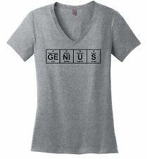 Genius Periodic Table Funny Ladies V-Neck T Shirt Science Elements Geek Gift Z5