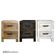 Rustic Recycled Elm Timber & Iron Handle 2 Drawer Side Table / Bedside Table