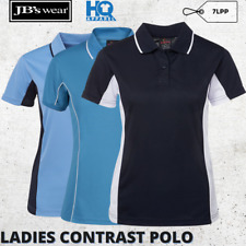 Ladies Contrast Polo Women Polyester Team Sports Uniform Collar Shirt Size 8-24