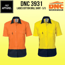 Ladies HiVis Two Tone Cotton Drill Shirt - Short Sleeve Brand New 3931 dnc