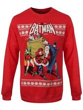 DC Comics Batman Santa & Robin Men's Red Sweater