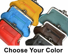GENUINE LEATHER WOMEN'S COIN PURSE COIN CHANGE HOLDER DOUBLE FRAME CLASP LARGE