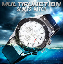 MEGIR Mens Sports Watch Quartz Chronograph Calendar Rubber Band Wristwatch K8M3
