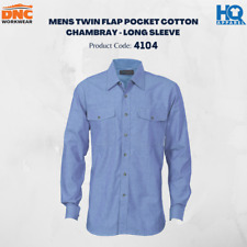 Mens Twin Flap Pocket Cotton Chambray - Long Sleeve Brand New Clothes 4104 dnc