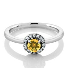 0.34 Ct Round Natural Yellow Citrine and White Diamond 18K White Gold Ring
