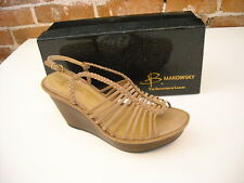 B Makowsky Willow Tan Brown Leather Braided Wedge Sandals New