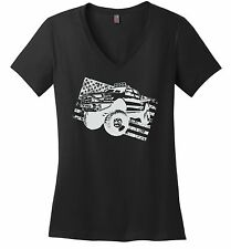 Truck Distressed American Flag Ladies V-Neck T Shirt Partiotic July 4th USA Z5