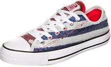Converse Women Shiny Silver-Blue-Red Shoes Sport Trainers Sneakers All Sizes ~