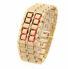 Lava Iron Metal Faceless Bracelet LED Digital Quartz Sport Wrist Watch Gold Cool