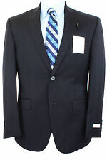 Calvin Klein Mens 100% Wool Slim Fit 2-Piece Suit 2-Button Pinstripes 1405 Navy