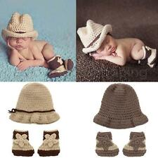 Cute Newborn Kids Baby Crochet Knitted Hat&Shoes Photography Props Infant Gift