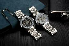 WINNER Luxury Skeleton Automatic Mechanical Steel Mens Business Wrist watch U4P6