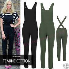 New Womens Celebrity Dungaree Pinafore Tailored Jumpsuit Ladies Trousers Pants