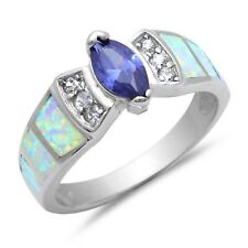 Blue Sapphire Marquise Cut White Opal Simulated Diamond Sterling Silver Ring
