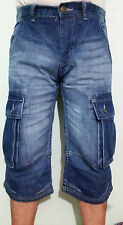 MENS DARK INDIGO DENIM 3/4 SHORTS CARGO COMBAT JEANS SUMMER CASUAL LONG SHORTS
