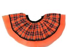 Neon Orange Tutu Tartan Skirt Kilt Punk Goth 80's Fancy Dress Costume Disco