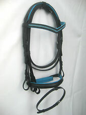 New snaffle leather bridle Black 2 row Blue diamonte on V Browband & Blue pad .