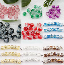 20-100 Round Clear Crackle Art Crystal Glass Charm Bead Jewelry Finding 4-10mm