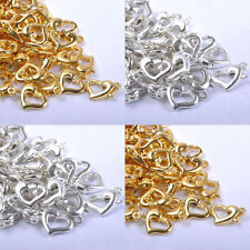 50Pcs Silver Gold Plated Heart Lobster Clasps Hooks Connector Finding 13x9mm DIY