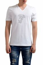 Versace Collection White Beads Decorated Logo V-Neck Men's T-Shirt Sz S M L XL