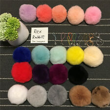 Genuine Rex Rabbit Fur Ball PomPom Charm Tassel Car Keychain Handbag Key Ring