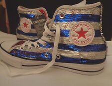 NWT Converse All Star Red Silver Blue US Flag Sequins Hi Tops Sneakers Shoes