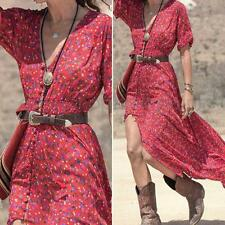 Women Floral Sexy Elegant Summer Casual Chiffon Cocktail Party Beach Maxi Dress